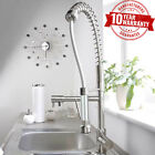 Commercial Brushed Steel Monobloc Kitchen Sink Mixer Tap Pull Out Spray Head *1