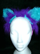 The Cheshire Cat Fancy Dress Ears Purple & Turquoise Fur Cat Ears Costume Ears