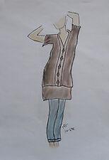 ORIGINAL MODEZEICHNUNG Modeskizze Damen fashion sketches 10-698