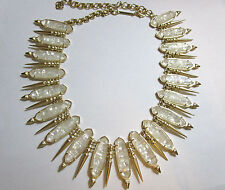 NWT Kendra Scott Gwendolyn Gold Statement Necklace Crushed Pearl
