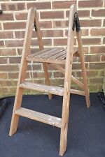 Vintage Paint Splattered Industrial Wooden Step Ladder Garden Shop Display