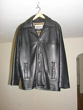 M. JULIAN WILSONS Black LEATHER Coat Jacket Size L THINSULATE LINING 4 Buttons