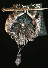 JJ Jonette Vintage Jewelry  Artifacts Wizard SWORD Large Pewter Brooch  Pin  NEW
