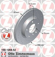 BMW E46 3 SERIES PAIR OF ZIMMERMANN FRONT SPORT BRAKE DISCS (34111162282)