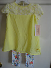 NWT Juicy Couture Yellow Cap Sleeve Top & Floral Leggings. Size 2T.