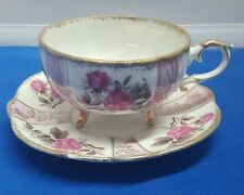 Vintage Bone China Roses Tea Cup And Saucer Footed Pierced Iridenscent B2