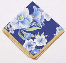 New $140 BATTISTI NAPOLI Navy-Gold-Blue Floral Silk Pocket Square Hand-Rolled