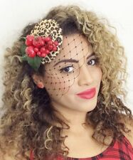 LEOPARD ANIMAL PRINT CHERRY FRUIT HAT FASCINATOR NET VEIL ROCKABILLY PIN UP 1950