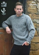 KNITTING PATTERN Mens Long Sleeve Round Neck Jumper Chunky King Cole 4034