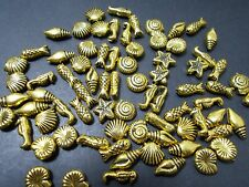 150pcs Acrylic MIXED Shell Sea Horse Starfish Fish Beads TIBETAN ANTIQUE GOLD