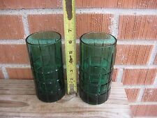 "Vintage ** 6"" ANCHOR HOCKING ** Green Heavy Drinking Glass Tumbler Set of 2 USA"