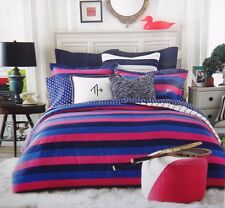 NEW Tommy Hilfiger Varsity Stripe Twin Comforter Set 1 Sham Pink Black Blue DORM