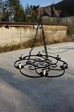 """Large Antique Wrought Iron Chandelier Light Lamp Ceiling 6 lights 25.6"""""""