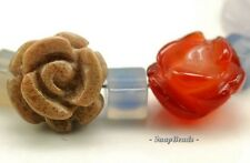 PARTY MIX GEMSTONE CARVED ROSE FLOWER 10X7MM-8X6MM LOOSE BEADS 5 BEADS