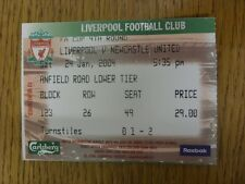 24/01/2004 Ticket: Liverpool v Newcastle United [FA Cup] (folded). Footy Progs/B