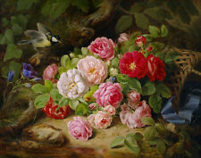 Josef Lauer Bouquet of Roses on a Forest Floor with Bird Butterfly and Basket