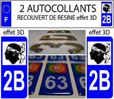 2 stickers plaque immatriculation auto TUNING DOMING RESINE REGION CORSE 2B