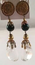 VINTAGE RUNWAY 80'S  STUNNING LONG GOLD TONE LUCITE DANGLE PIERCED EARRINGS 182