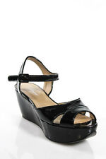 Salvatore Ferragamo Black Platforms Wedges Sandals Size 7.5