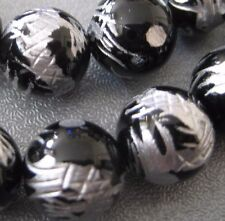 Black Carved Silver Dragon Onyx Round Beads 10mm 4pcs