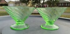 """2 Vintage Iridescent """"Indiana Carnival Glass"""" Lime Green Pudding /Jell-o Cups"""
