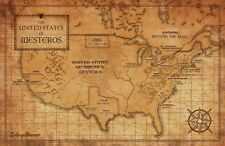 "Game Of Thrones Houses Map Westeros TV Show Fabric Poster 36"" x 24"" Decor 54"