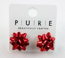 Gift bow earrings gold silver red or green metal