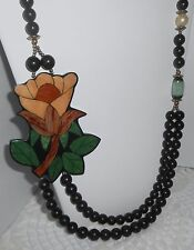 Lee Sands? Black Beaded Wood Inlay Resin Flower Necklace
