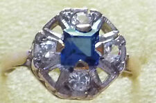 Vintage Hallmarked 9ct Gold & Blue Square Cut Spinel & CZ Ring Size N (US 6-3/4)