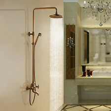 Retro Antik Brass Tub Shower Faucet with 8 inch Shower Head + Hand Shower 2016
