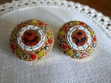 Vintage  Micro Mosaic Earrings ~Round Floral w/ Decorative Frame~Made in Italy
