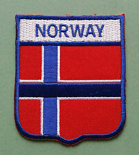 NATIONAL FLAG COUNTRY SHIELD SEW ON / IRON ON EMBROIDERED PATCH:- NORWAY