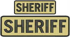 """""""Sheriff"""" embroidery patch  3x10 and 2x6 inches hook tan"""