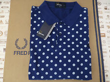 FRED PERRY Polo Shirt M5392 POLKA DOT Pique SLIM FIT Size L Blue Top BNWT RRP£65