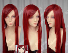 Fairy Tail Erza Scarlet Dark Red 100cm Straight Cosplay Party Wig