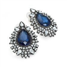 EARRING DIAMANTE hematite tone crystal cluster blue costume er29797 oval