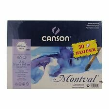 CANSON MONTVAL A4 50 Fogli 300gsm Cold Press Acquerello su carta Pack artista