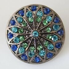 Snap Blue Rhinestone Interchangeable Jewelry Chunk Charm 18mm Fits Ginger Snaps