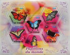 Butterflies butterfly s/s hexagon shape stamps Tchad 2011 MNH #tchad2011-33