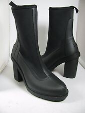 sz 8/ 39 NEW HUNTER Original High Heel Sock Rubber BLACK Rain Boot $225