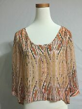 NEW Urban Outfitters Sparkle And Fade Gauzy Peasant Sheer Blouse Top Size M 8-10