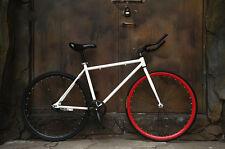 """26"""" White  Fixed Gear Bike Carbon Steel Outdoor Sports Speed Change Urban Bike"""