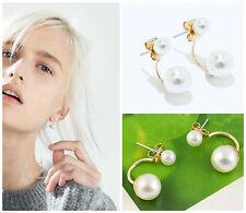 ZARA Woman BNWT Two Pearl Earrings Acrylic Brass Dangle-Style Accessory 1856/244