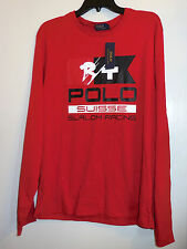 Polo Ralph Lauren Mens L Red Long Sleeve Suisse Slalom Racing Ski 67 Shirt NWT