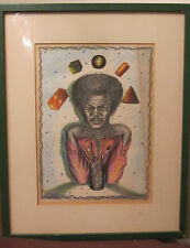 vintage original J Womack Jimi Hendrix hand drawn pencil colored drawing framed