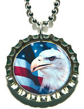 PATRIOTIC BALD EAGLE BOTTLE CAP NECKLACE (CAP027a)