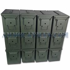 STENCILED 12 CANS! TWELVE NEW MIL-SPEC FAT 50 CAL PA108 SAW BOX EMPTY AMMO CANS