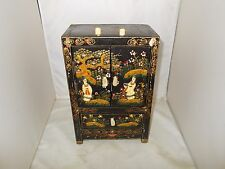 VINTAGE CHINESE JEWELRY BOX ~ WOOD WITH HAND PAINTED & HAND CARVED ACCENTS
