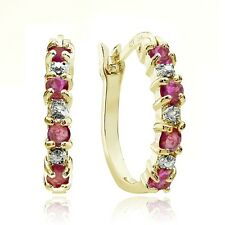 Gold Tone over Sterling Silver Genuine Ruby & Diamond Accent Hoop Earrings