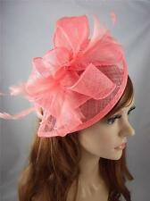 Coral Teardrop Sinamay Fascinator with Feathers - Occasion Wedding Races